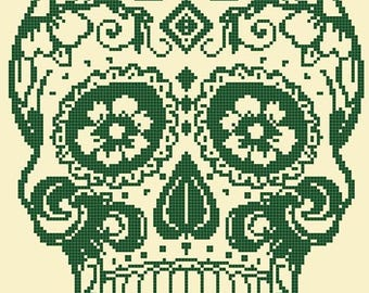 "sugar skull Counted Cross Stitch sugar skull Pattern pdf file ristipisto kuvio needlepoint korss - 15.71"" x 19.36"" - L1384"