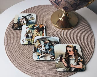 Set of 4 - Alice in Wonderland Coasters - Handmade