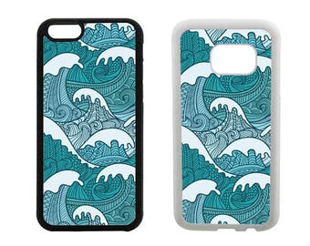 Rubber bumper phone case iPhone 7, 6, 6S, 6 Plus, SE 5S 5C 4S, Samsung Galaxy S7, S6, Edge, S5 S4 Mini sea ocean waves surf phone cover. R58