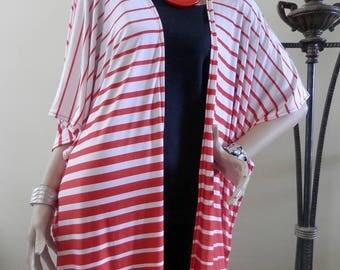 Coral Striped Kimono Cardigan/Cover Up Kimono/Kimono Boho/Lightweight Jacket/Poncho/Women Kimono/Cocoon Cardigan/Plus Size Kimono/Oversized