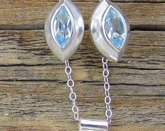 Aquamarine Necklace Earrings Set, Sterling Silver Set, Aquamarine Gemstones Set, Necklace Earrings Set, Crystal Clear Set, Gift For Her