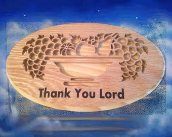 Religious Wooden Plaque - Thank You Lord - Oval - Stained or Natural