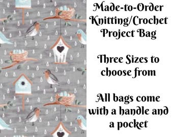 Spring Birds in Grey, Knitting Project Bag, Crochet Bag, Cross Stitch, Zippered Bag, Knitting Organizer