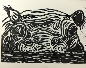Hippo linocut print