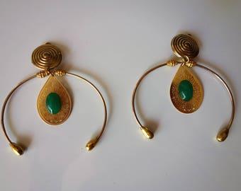 hoop earrings set gold and green