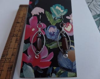 Silver and wood earrings