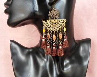 """Earrings tassel Collection """"Luxury Brown"""" N ° 3"""