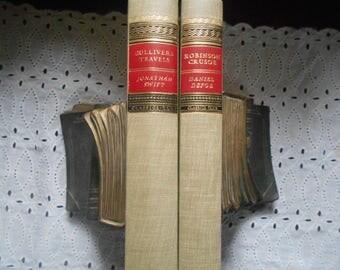 Gulliver's travel by Johnathan Swift and Robinson Crusoe by Daniel Defoe Classics Club Hardcovers  Book Bundle