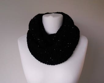 GetWoolly Chunky black knit long infinity scarf with sequins