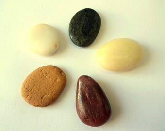 Five Beach Pebbles, Colorful Beach Stones, Sea Stones, Stone Beads, Undrilled Stones