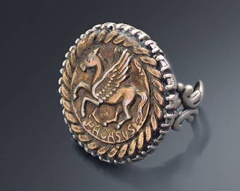 Pegasus Ring, Roman Jewelry, Roman Coin Jewelry, Greek Ring, Pegasus Ring, Horse Ring, Bronze Roman Ring, Ancient Coin Ring R539