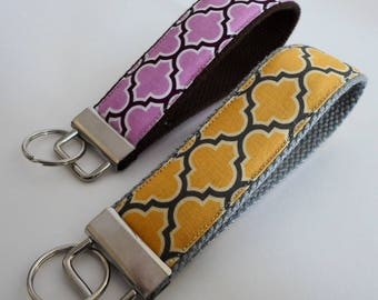 Key Fob / Key Chain / Wristlet Fabric Handcrafted Lattice Yellow on Gray Purple on Brown Handmade 1.25inch x 10in Geometric
