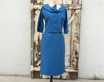 1950s 1960s Blue 2 Piece Suit Medium 27 Waist
