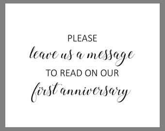 PRINTABLE 8x10 Please Leave Us A Message To Read On Our First Anniversary WEDDING SIGN