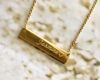 bridesmaid gift ,Personalized Name initial Bar Necklace,bar necklace, simple necklace, Gold Necklace