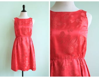 Vintage 1960's Pink Silk Rose Brocade Dress | Size Small