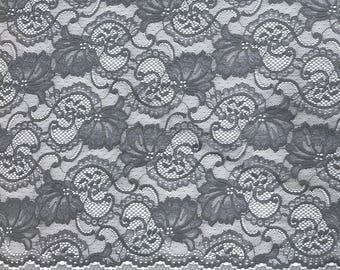 "Grey Stretch Lace Fabric Floral Embroidery Poly Spandex 58"" Wide BTY Wedding Apparel Victoria"