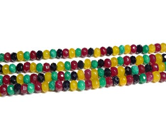 Mixed-Colour Faceted Agate Gemstone Beads - Rondelle Agate Stone Beads - Full Strand - Jewellery Supplies