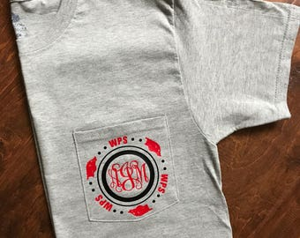 Arkansas Razorbacks monogram, WPS, Adult Tshirt.