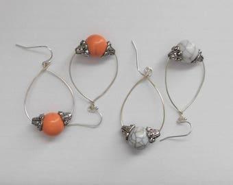 Bead Teardrop Hoop Pierced Earrings