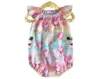 Baby Romper, Rainbow Romper, Girls Summer Romper, Toddler Romper, Unicorn Romper, Birthday Romper, Ruffle Romper, Bubble Romper
