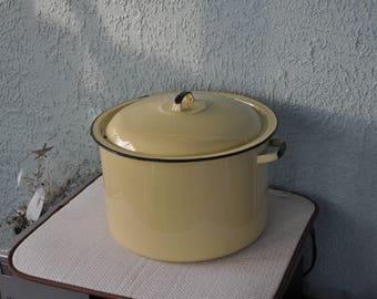 Vintage Yellow Porcelain Canner Pot