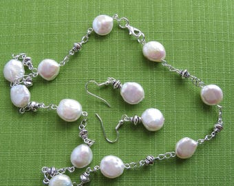 Freshwate coin pearl station necklace with mahching dro  earrings set