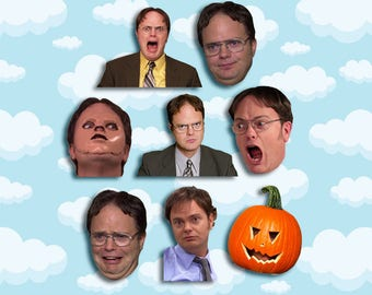 """Dwight Schrute Expressions Sticker Pack 8 ct 2 x 1.5"""" - The Office TV - Office Dwight - Dwight Schrute - Office TV Show - Office TV Gift"""