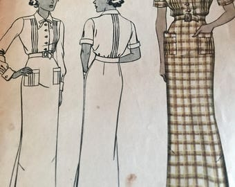 RARE Vintage 1930's Shirtdress Pattern With Fabulous Pintuck Details---McCall 8327---Size 16 Bust 34