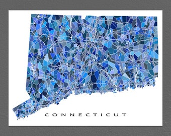 Connecticut Map Art, Connecticut Print, CT State Maps