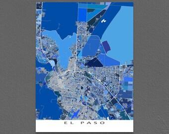 El Paso Map Art Print, El Paso Texas, USA City Maps