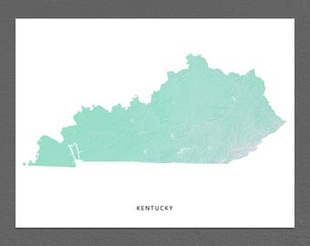 Kentucky Map Print, Kentucky State, Aqua, KY Landscape Art