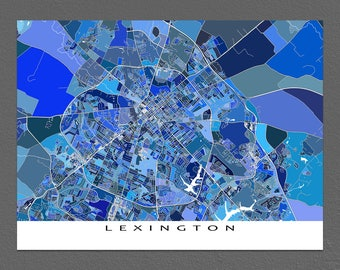 Lexington Kentucky, Lexington Map Print, USA City Art Maps