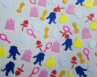 Beauty and the Beast Confetti - Set of 160 - Handmade - Belle, Beast, Mrs. Potts, Chip, Rose, Mirror, Castle, Party Decor