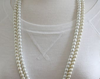"""Faux pearl necklace beaded long necklace 30"""" long bead strand 8mm beads white cream off white"""