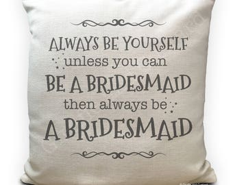 Personalised Bridesmaid Wedding Cushion Cover - bridesmaids thank you gift - Vintage Style Gift - Home Decor Decoration - 16 inch - 40cm