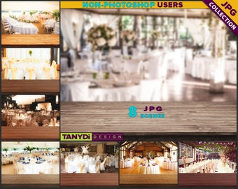 Empty Table Top WT-C5 | Wedding Dark Wood Table Styled Scene | 8 JPG Wedding Blur Background | Table Scene Creator
