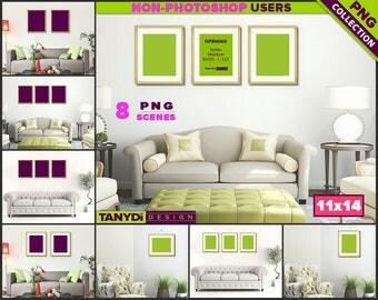 11x14 Gold Fine Frame   8 PNG Living Room Scenes 1114-LRC1   Portrait Landscape   Sofa Living room interior   Set of 2 3 frames