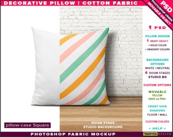 Square Decorative Pillow Cotton Fabric | Photoshop Fabric Mockup M1-S-0 | Room stage | Cushion on wood floor | Smart Object Custom colors