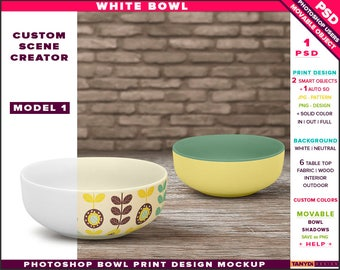 White Bowl | Photoshop Print Mockup B1-0 | Custom Scene Creator | Cereal Bowl on Fabric Wood Table Top | Smart object Custom color