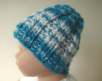 Chunky knit hat blue kids hat size 1 - 1.5 yrs warm comfortable turquoise winter hat multi color teal thick and thin effect yarn lana grossa