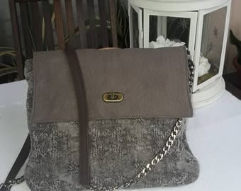 Shoulder bag, crossbody bag, handbag, tapestry tissue, faux suede taupe leather, dark brown, all-porpouse bag, chain strap, pochette