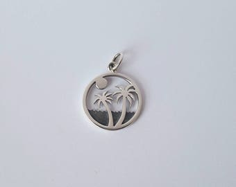 Sterling Silver Palm Tree Charm, 15mm, Fast Shipping from USA