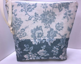 Wedgwood Blue Large Project Bag, Wet Bag, Cosmetics Case, Waterproof Bag, Tall Zipper Pouch
