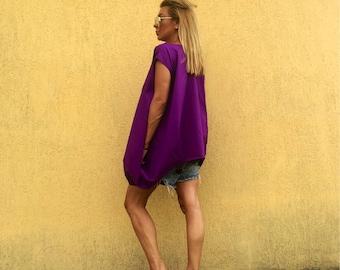 Tunic /cotton tunic /maxi tunic /plus size tunic /Purple tunic /extravagant tunic