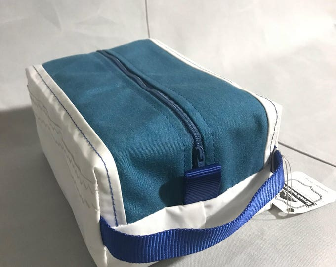 Sail Cloth Toiletry Bag, Toiletry Kit, Dopp Kit, Shaving kit,  blue canvas with blue zipper, blue webbing handle or black webbing handle