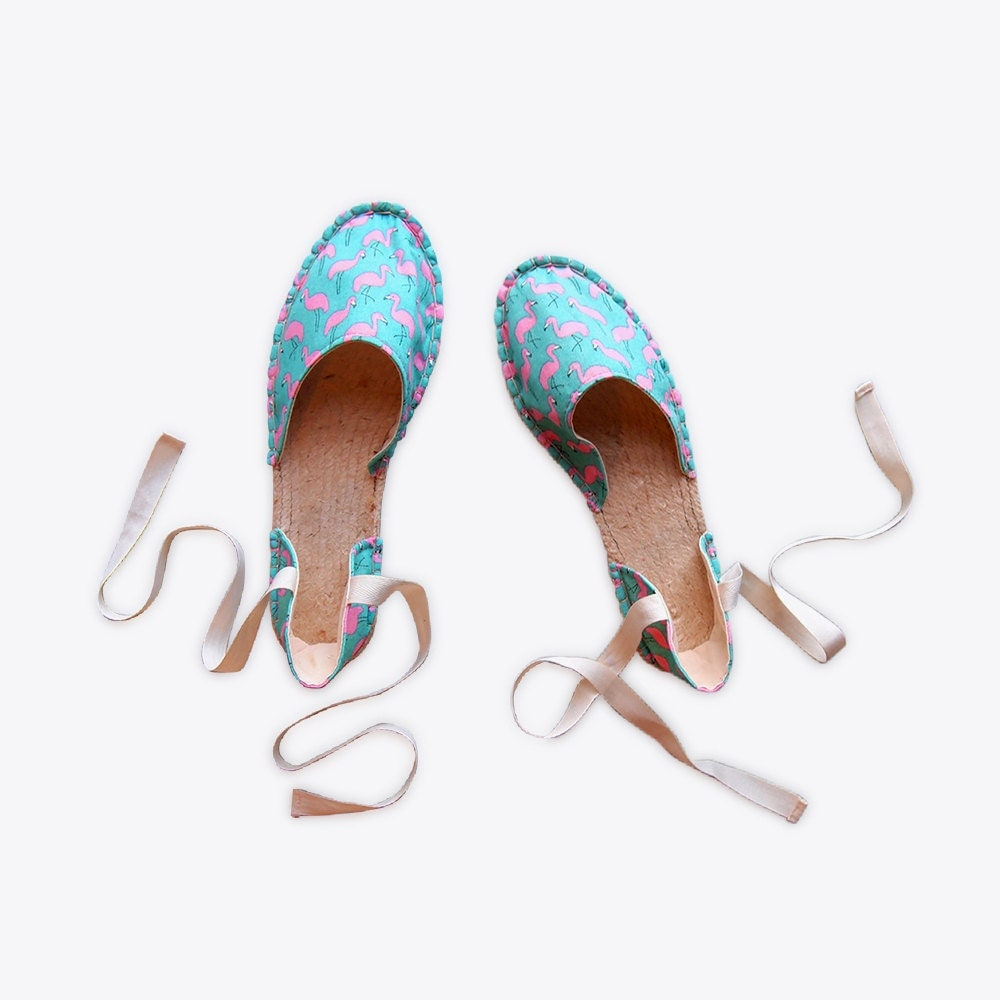 Suzie London flamingo print strappy espadrilles, nominated for Best New Product in the Mollie Makes Handmade Awards 2017