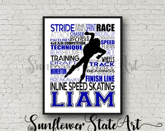 Personalized Inline Speed Skating Poster, Inline Speed Skater Gift, Speed Skating Print, Roller Skating Art Typography, In Line Skating