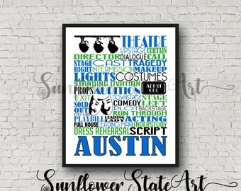 Theater Gift, Musical Theatre, Theater Typography, Personalized Theater Poster, Acting Gift, Acting Poster, Gift for Actor, Gift for Actress