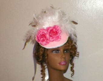 Pink Fascinator Victorian Bridal Hat White Feather Gothic Steampunk Lolita Bridal Headpiece Old West  Marie Antoinette
